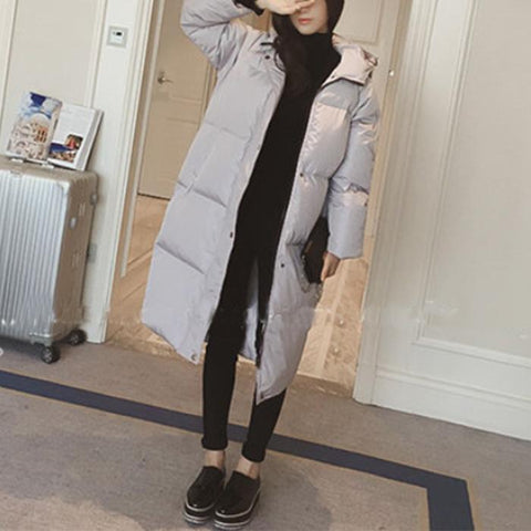 Chiczz Fashionable pure colour long-sleeved hooded cotton coat