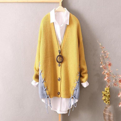 Chiczz Literary Large Size Loose Long Knit Cardigan