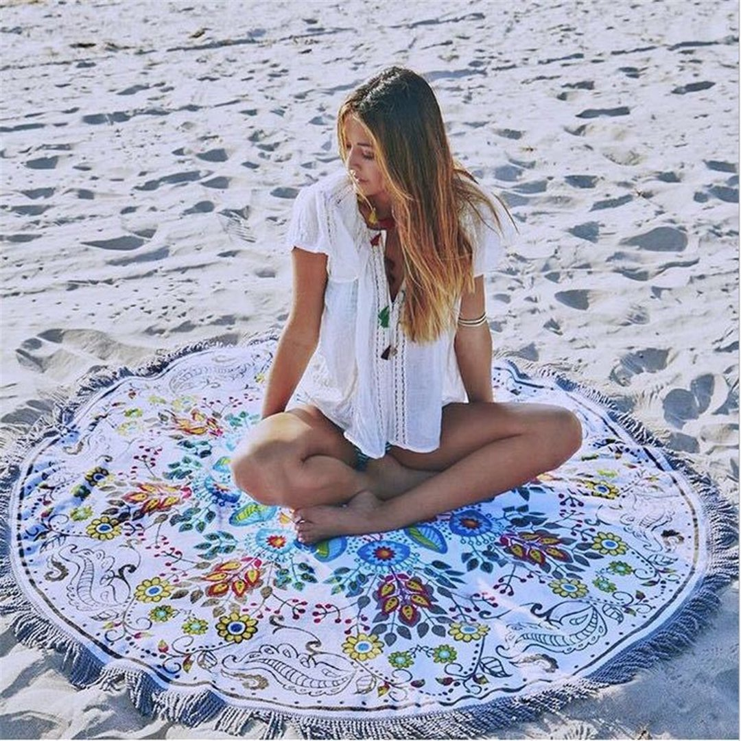 Chiczz Round printed sunscreen beach shawl