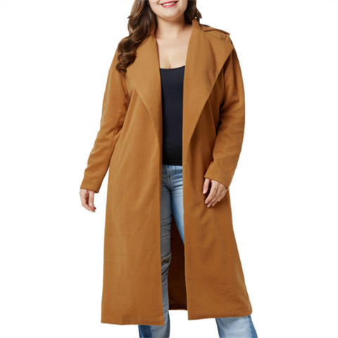 Chiczz Fashion Large Size Pure Color Long Sleeved Overcoat