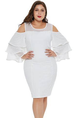 White Cold Shoulder Cascading Sleeve Plus Size Dress