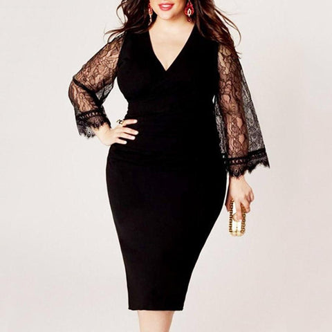 Chiczz Bell Sleeve V-Neck Hollow Out Solid Lace Plus Size Bodycon Dress