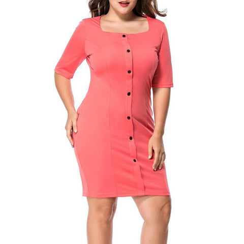 Chiczz Half Sleeve Square Neck Single Breasted Solid Plus Size Bodycon Dress