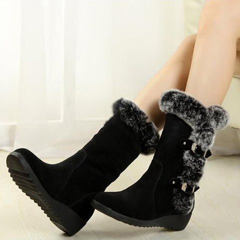 Chiczz Round Head Rabbit Fur Warm Snow Boots