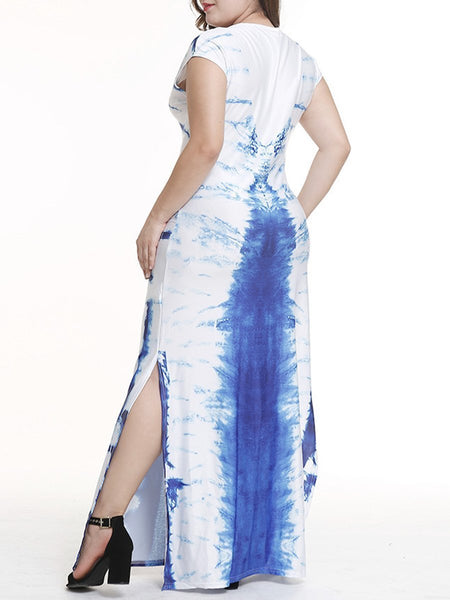 CHICZZ Round Neck Side Slit Ikat Plus Size Midi & Maxi Dress