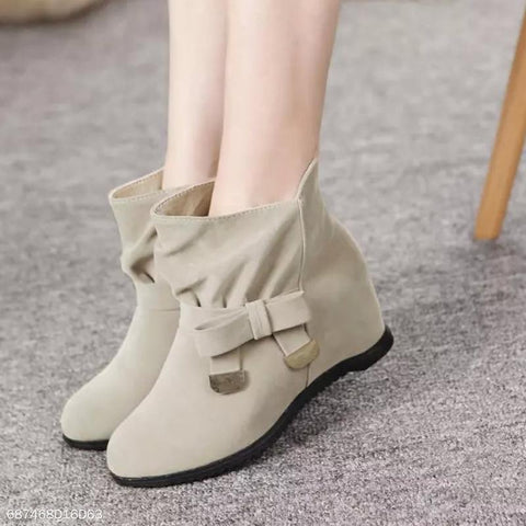 Chiczz Bow Booties Scrub Female Wedges Martin Boots