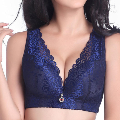 Chiczz Lace Thin Without Steel Ring Gather Adjustment Full Cup Bra