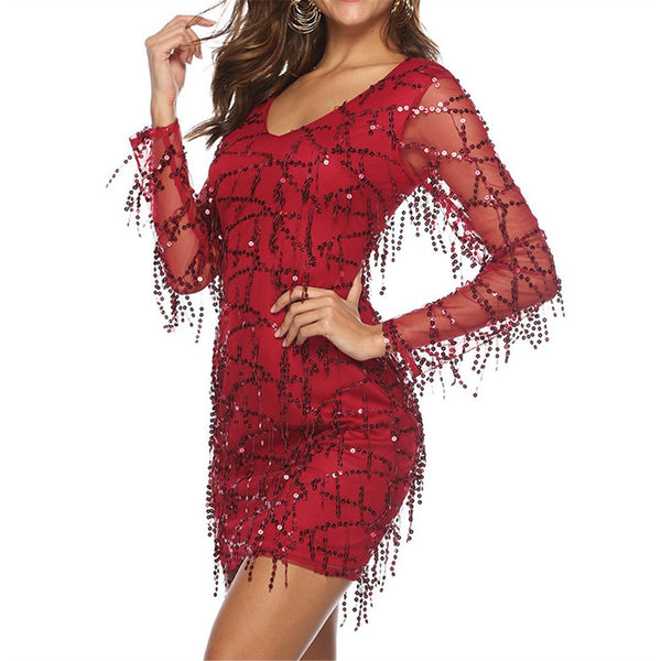 Chiczz Sexy Mesh Perspective Fringed Sequin Mini Dress
