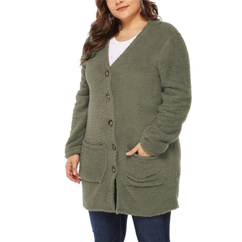 Chiczz Fashionable Plus-Size Plush Cardigan