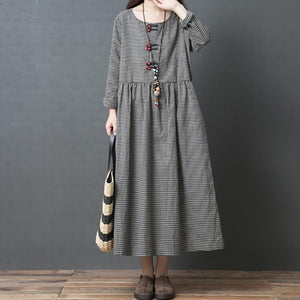 Chiczz Casual Loose Plus Size Fashion Comfortable Long Sleeve Plaid Dress