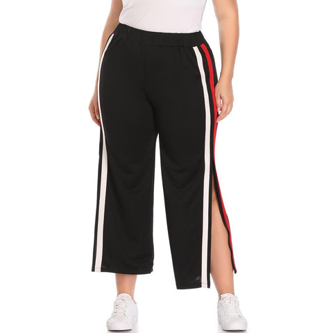 Chiczz Casual Loose Plus Size Pure Colour Slit Stripe Comfortable Trousers