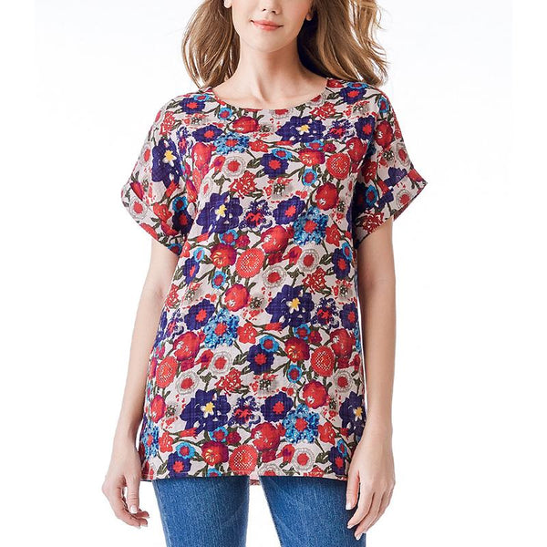 Chiczz Sexy Loose Plus Size Round Neck Short Sleeve Comfortable Printed Colour T-Shirt