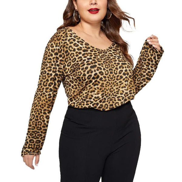 Chiczz Sexy Loose Plus Round Neck Fashion Comfortable Leopard Print Long Sleeve T-Shirt