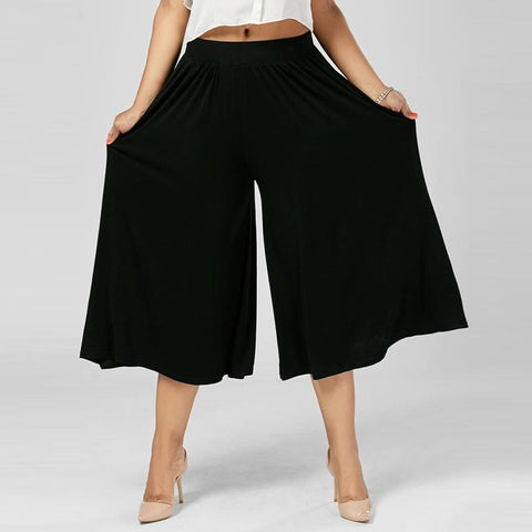 Chiczz Plus Size Pure Color High Waist Wide Leg Capri Pants