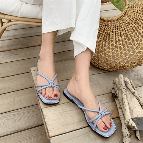 Chiczz Fashion Square Head Simple   Versatile Flat Slippers