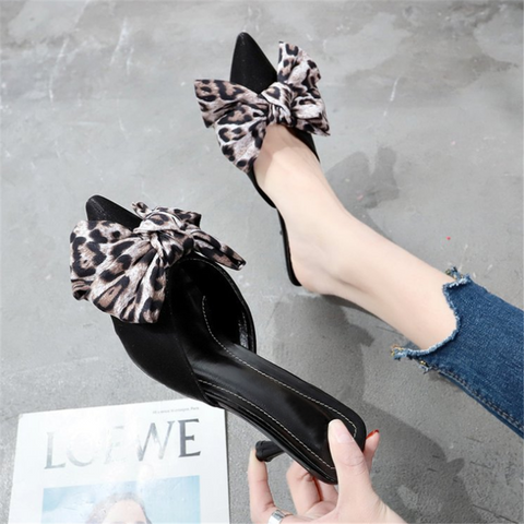 Chiczz Fashionable Wild Leopard-Tip   Pointed High-Heeled Slippers