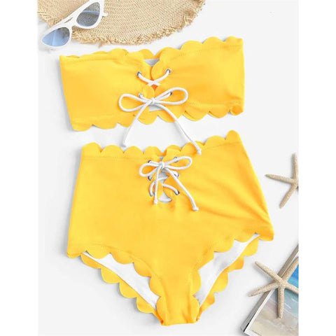 Chiczz High Waist Pure Color Split Bikini