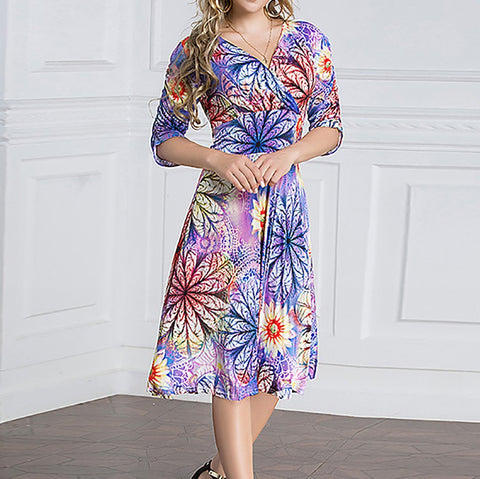 Chiczz Plus Size Sunflower Dress Floral Halflong Sleeve Classy