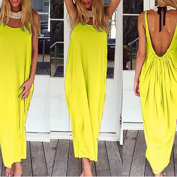 CHICZZ Sexy Bare Back Pure Colour Sleeveless Dress
