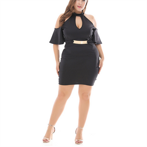 Chiczz Plus-size high waisted knit solid color mini dress