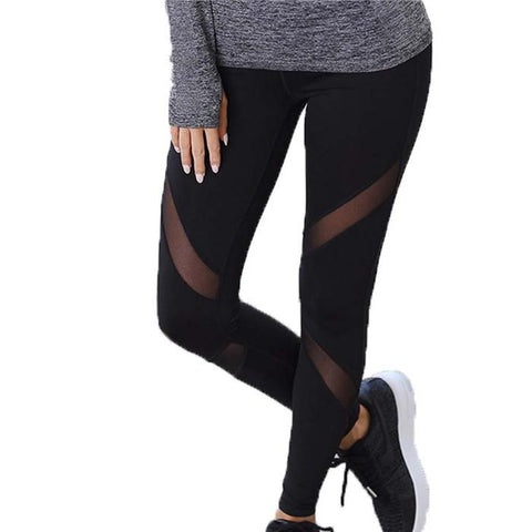 Chiczz Plus-Size Exercise Yoga Mesh Splicing Pant