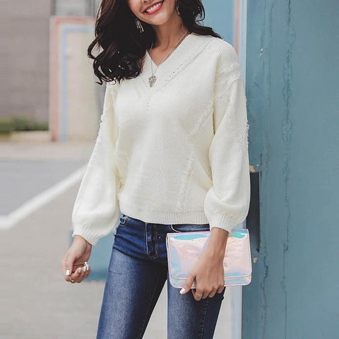 CHICZZ Solid Color Tassel V- neck Long Sleeve Sweaters