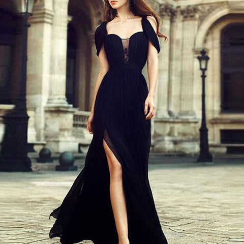 Chiczz Black Chiffon Elegant Evening Dress