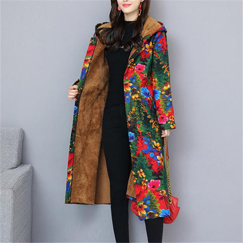 Chiczz Fashionable loose cotton and linen printing long-sleeved hooded overcoat