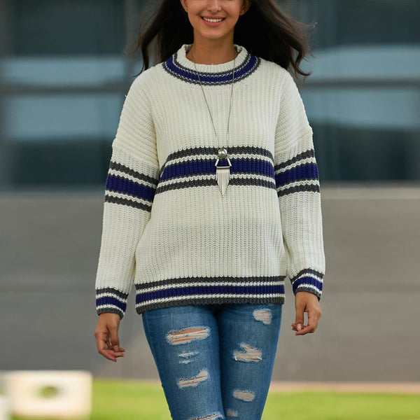 Chiczz Round Neck Striped Long Sleeve Sweater