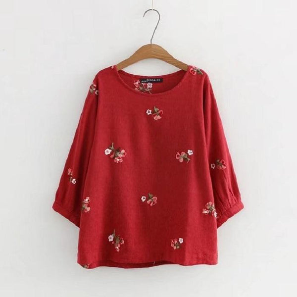 Chiczz Round Neck Loose Embroidered Jacquard Cotton Shirt