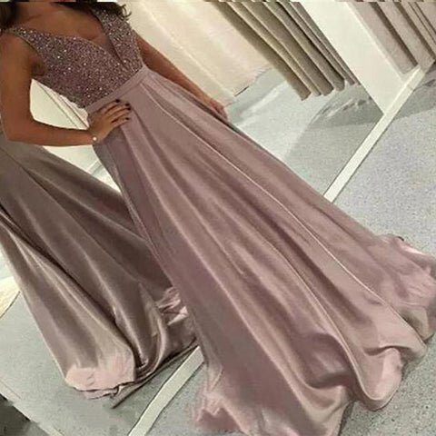 Chiczz Deep V Sequin High Waist Evening Dress
