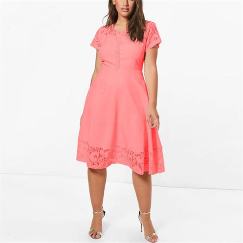Chiczz Plus-size fashion pure color lace patchwork dresses