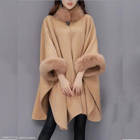 Chiczz Faux Fur Collar  Frayed Trim  Plain  Batwing Sleeve Coat
