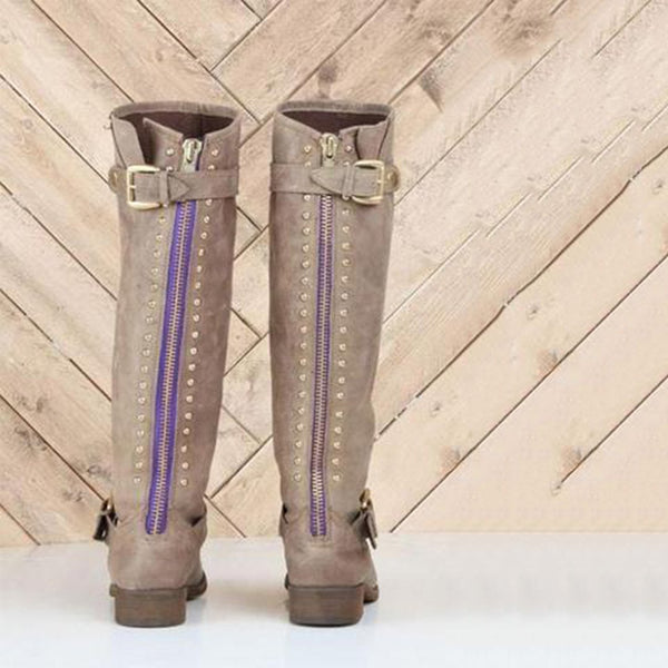 Chiczz Round Toe Flat Knee Boots