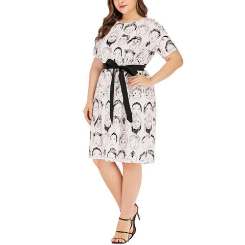 Chiczz Round Neck Short Sleeve White Black Random Print Plus Size Midi Dress