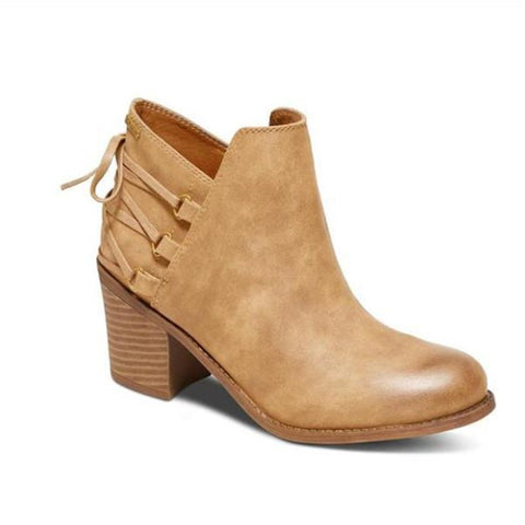 Chiczz Fashion High-Heel Square-Heel Short Boots