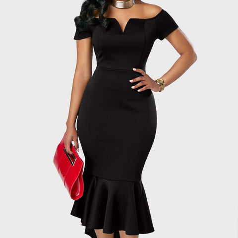 Chiczz Short Sleeve Solid Color Off Shoulder Evening Dresses