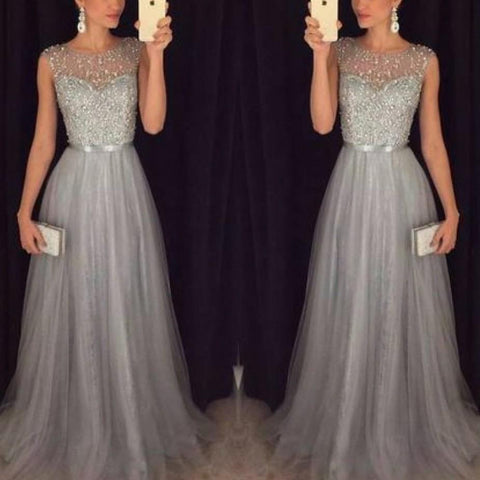 Chiczz Chiffon Sleeveless Round Neck Sequins Bandage High Waist Evening Dresses