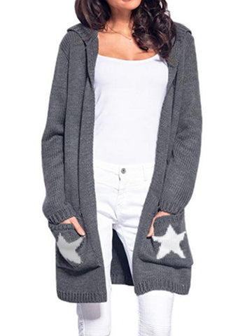 Chiczz Pockets Geometric Cotton Casual Cardigan