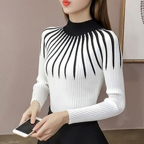 CHICZZ Striped Half Turtleneck Winter Women Sweater
