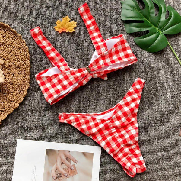 Chiczz Sexy Bikini Plaid Bow Split Swimsuit