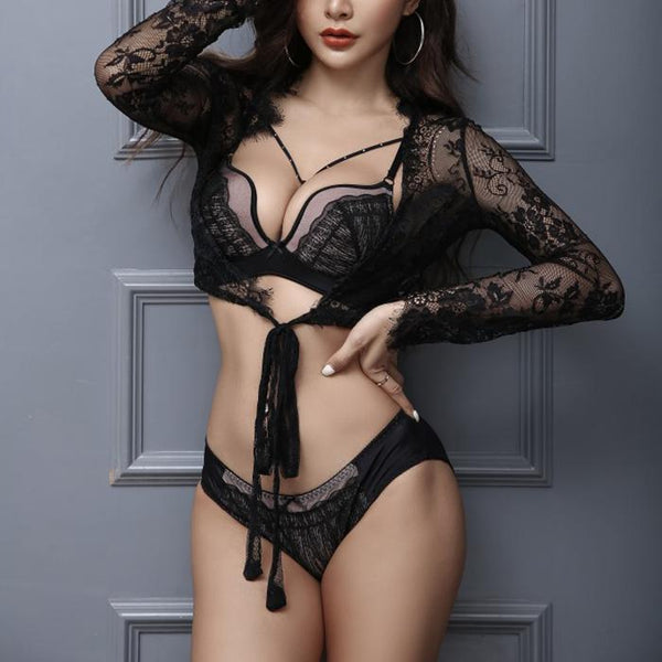 Chiczz Sexy Openwork Lace No Rim Bra Set