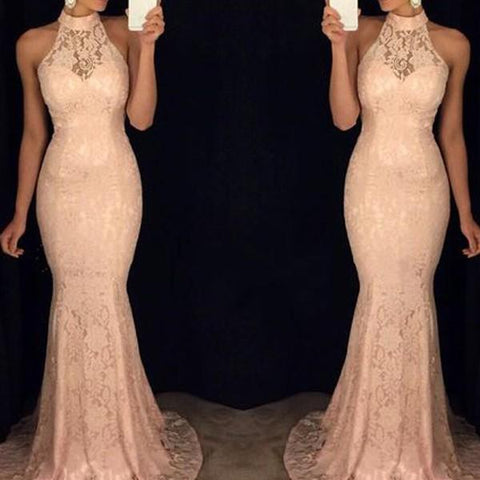 Chiczz Sexy Lace Hanging Neck Mermaid Long Bodycon Dress