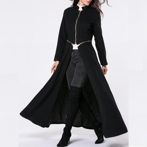 Chiczz Band Collar  Zips  Snap Front Plain Duster Coat