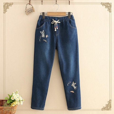Chiczz Fresh Literary Embroidery And Velvet Denim Trousers