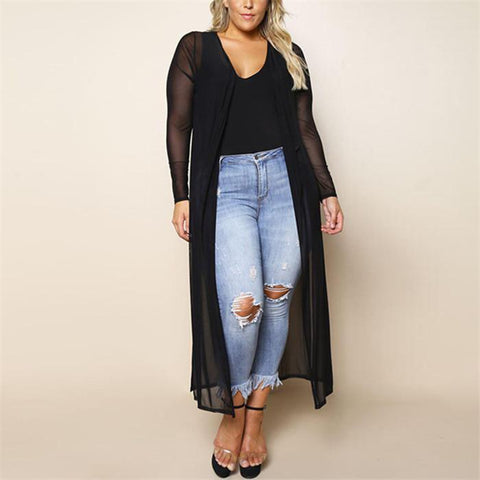 Chiczz Plus-Size Fashion Pure Color Perspective Chiffon Cardigan