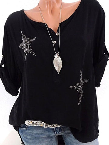CHICZZ Spring Summer Polyester Women V-Neck Decorative Button Star Roll-Up Sleeve  Long Sleeve Blouses