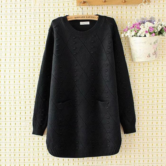 Chiczz Round Neck Loose Knit Bottoming Shirt In Long Sweater