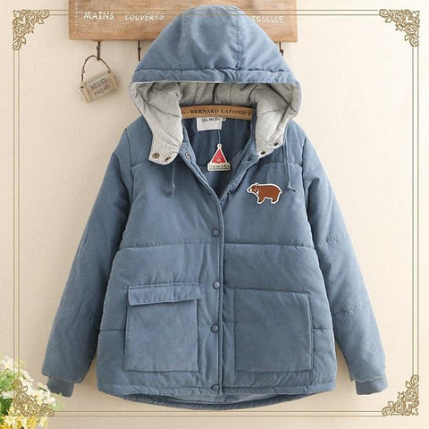 Chiczz Fun Bear Patch Embroidery Thick Hooded Cotton Coat