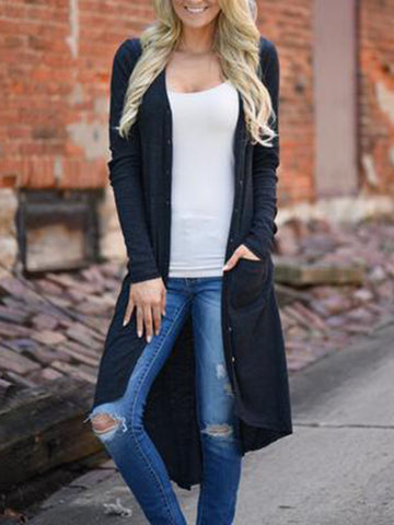 Chiczz Pockets Casual Solid Long Cardigan